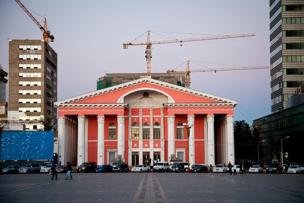 The Soviet-built People's Theater in Sukhbaatar Square, Ulaan Baatar