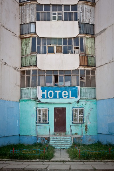 An apartment block repurposed to a hotel in Erdenet, Mongolia
