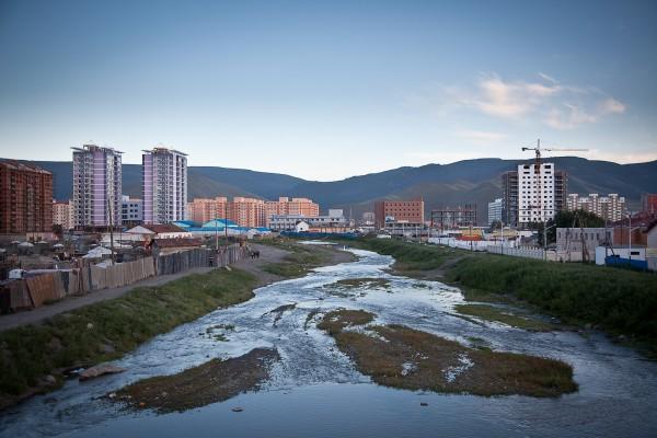 modern condominium development under construction on the outskirts of Ulaan Baatar