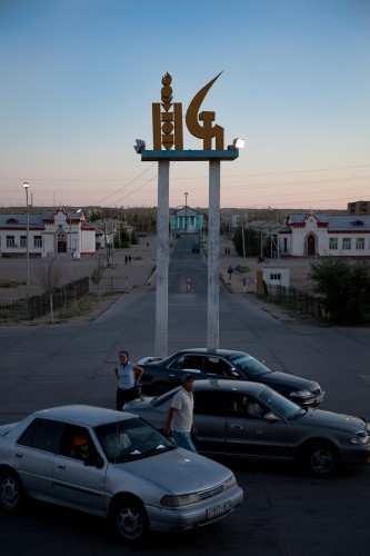Locals in Sainshand, Mongolia wait for the arrival of the train from Ulaan Baatar