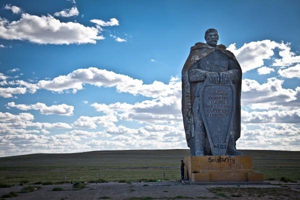 Solidarity; graffiti on a Russian soldier statue outside an abandon Soviet barracks, Gobi desert