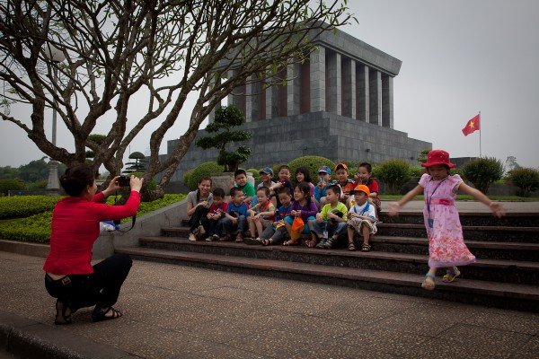 School children on a class trip to the Ho Chi Minh Mausoleum