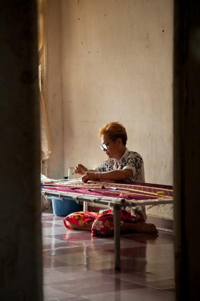 An Embroiderer in the White Building, Phnom Penh, Cambodia